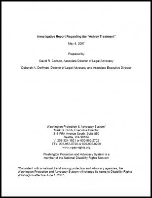Investigative Report Regarding The Ashley Treatment Disability