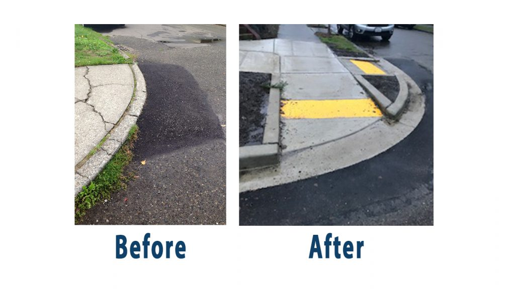 Before and aftershot or a curb cut. A #CrappyCurb on the left side and an ADA compliant curb cut on the right.