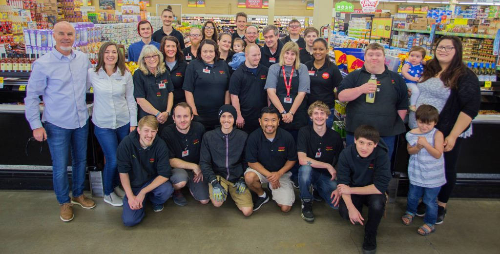 Photo of Chehalis Grocery Outlet employees gathered inside of the store.