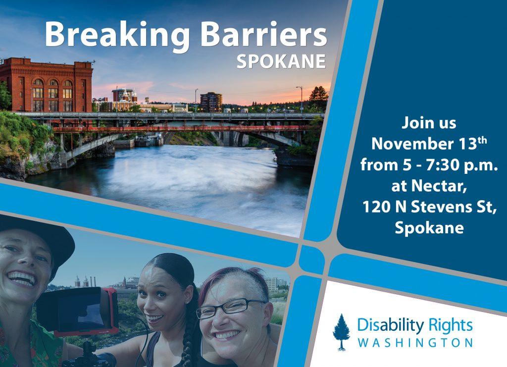 Photo of Spokane Riverfront and three women smiling.