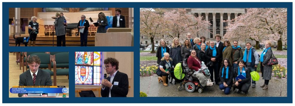 Top left image shows six people standing on stage. Bottom left image shows someone testifying at a bill hearing. Bottom right image shows someone speaking with microphone. Right center image shows group of people gathered outside of the state capitol building.