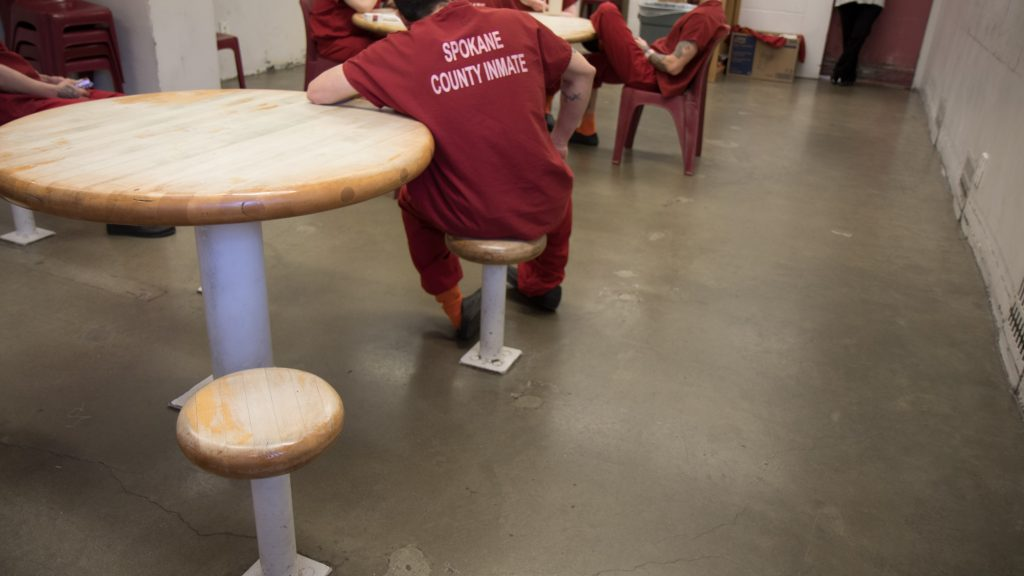 people at spokane county jail in communal area