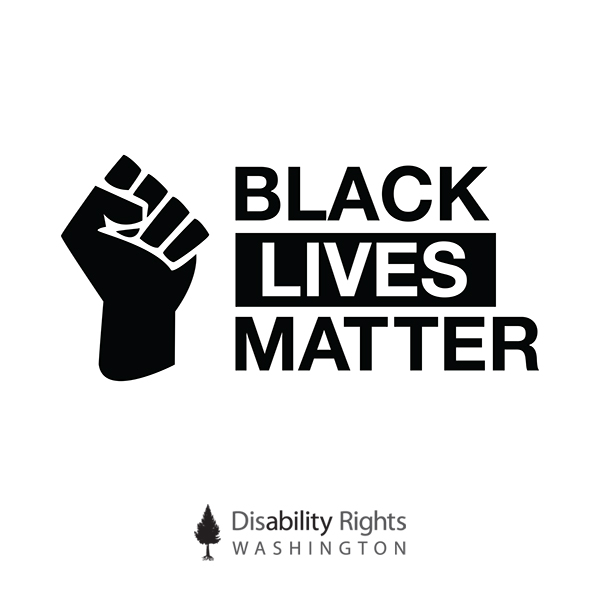 "Top image shows an outline of hand making a fist. Text next to it reads, ""Black Lives Matter."" Image below that is DRW's logo."