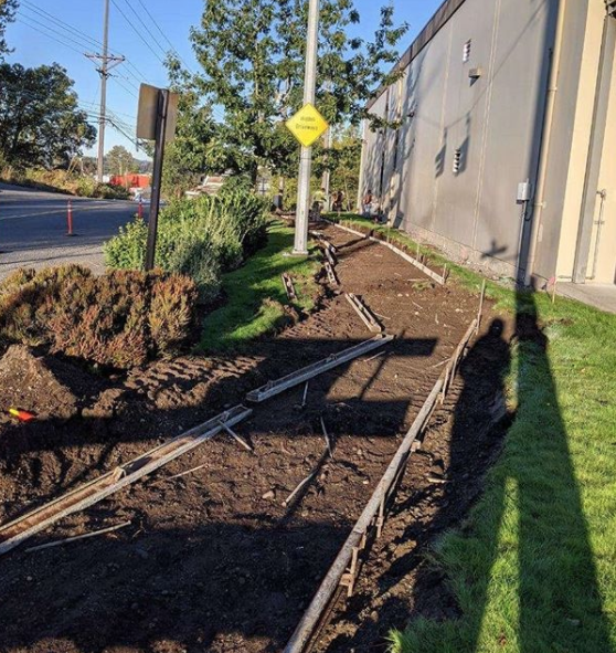 Dirt lined by barriers for sidewalk installation.