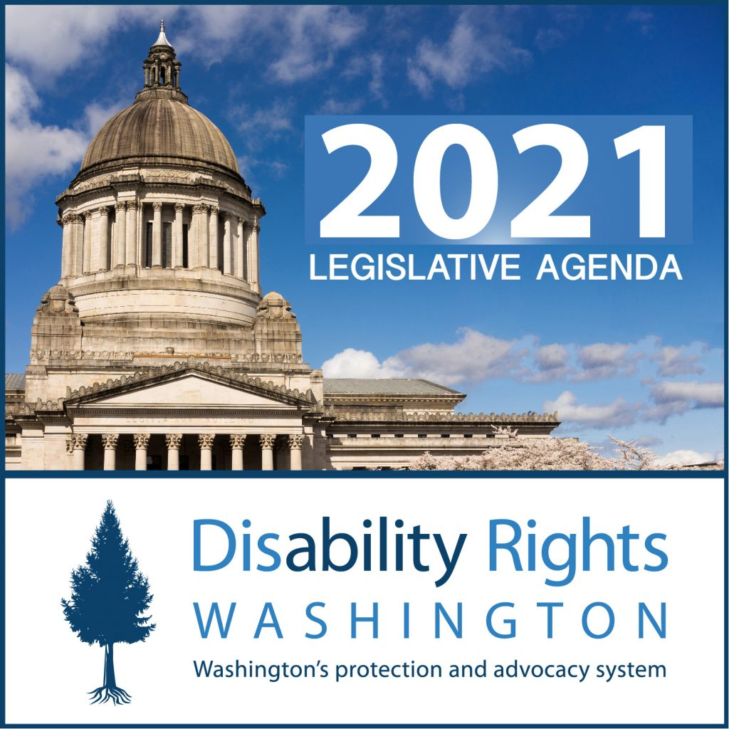 """Photo of Washington State capital building with the text on top that says """"2021 legislative agenda."""" DRW logo is below in blue with a blue tree."""