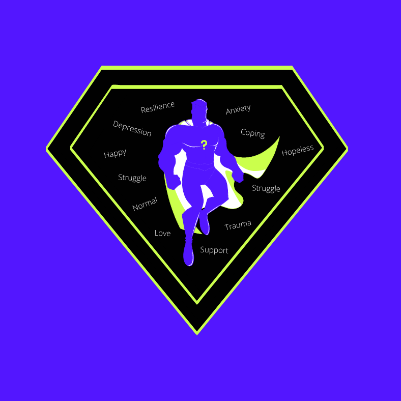 "SKEWL logo with purple background and a black diamond shape in the center. Inside the diamond is the outline of purple super hero with a question mark on their chest and a green cape. Around the super hero are the words, ""Resilience, Anxiety, Coping, Hopeless, Struggle, Trauma, Support, Love, Normal, Struggle, Happy, and Depression."""