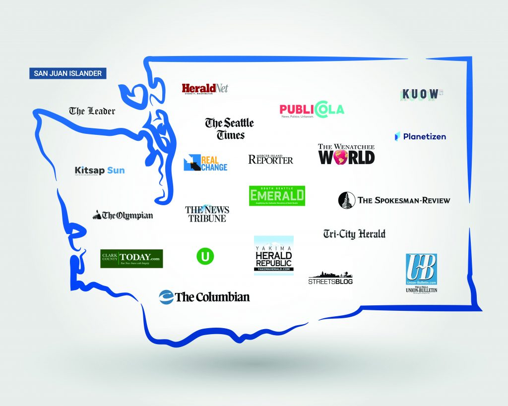 A map of Washington state with logos spread across it of a dozen local news organizations.
