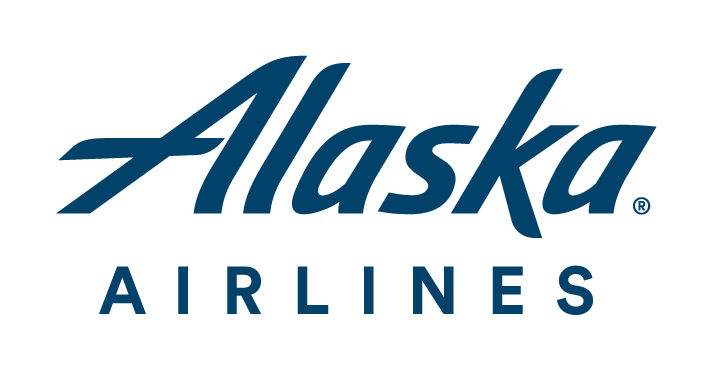 Alaska airlines logo with white background and blue text.